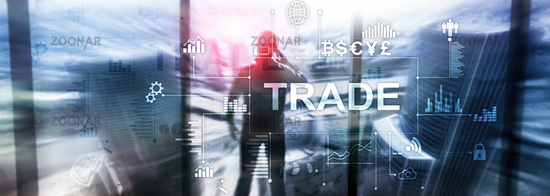 Stock trading candlestick chart and diagrams on blurred office center background