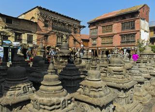 Stupas, Swayambhunath Tempel oder Affen-Tempel, Kathmandu, Nepal