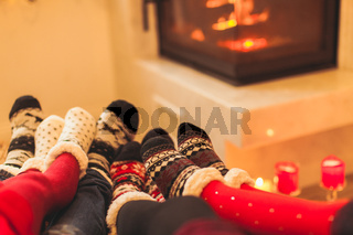 Big family is warming near the fireplace