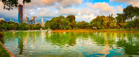 Panoramic view of Bangkok skyline. Lumphini park, Thailand. Panorama