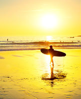 Surfing beach sunset people Portugal