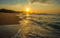 Zipolite beach at sunrise, Pacific coast of Mexico