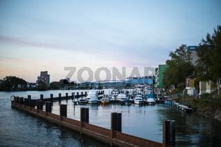 Quiet Small Boat Harbor on River Landscape Blue Sky Afternoon Peaceful Environment