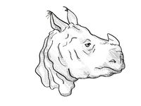 Indian Rhinoceros Endangered Wildlife Cartoon Retro Drawing