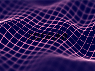 Virtual reality concept: abstract digital landscape grid in cyberspace.
