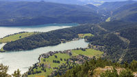 The Walchensee from above with peninsula, Bavaria, September