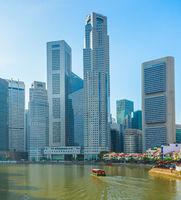 modern Singapore skyline Raffles place