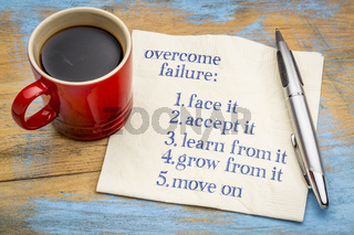 overcome failure tips on napkin