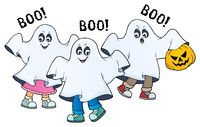 Kids in ghost costumes theme image 2