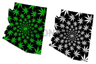 Arizona - map is designed cannabis leaf