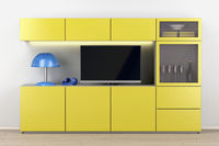 Led tv and yellow tv cabinet