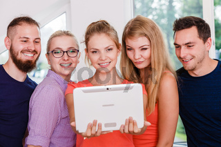 friends students taking self photo with tablet