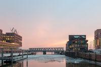 View from Busan Bridge in Hafencity Hamburg at Elbe River and Magdeburger Bridge.