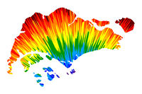 Singapore - map is designed rainbow abstract colorful pattern, Republic of Singapore map made of color explosion,