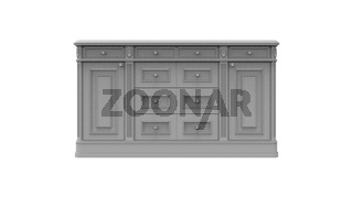 3d rendering of a small wooden cabinet closet in white background