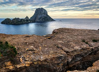 Es Vedra island at sunset. Ibiza Island, Balearic Islands. Spain