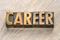 career word in wood type