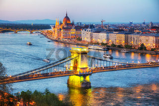 Overview of Budapest at sunset
