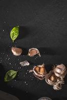 Garlic and fresh basil leaves