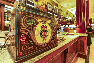The old fashion cash register machine at Cafe Tortoni