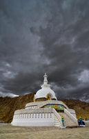 Shanti Stupa, Buddhist white-domed stupa  or chorten on a hilltop in Chanspa, Leh district, Ladakh, India