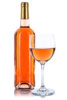 Wein Flasche Glas Weinflasche Weinglas Rose Rosewein freigestellt Freisteller