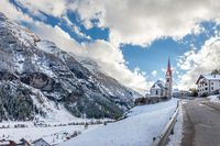 Church of Riva di Tures with snow