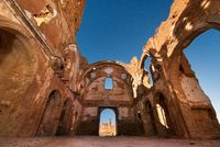 Night scene of Belchite town ruins, destroyed during the spanish civil war, Saragossa, Spain.