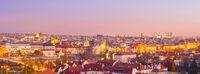 Panorama  Prague twilight Czech cityscape