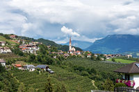 landscape with a little village in South Tyrol, Renon-Ritten region, Italy.