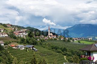 landscape with a little village in South Tyrol, Renon-Ritten region, Italy.