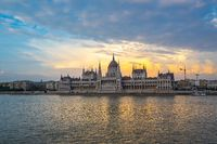 Sunset view of Budapest Parliament Building with view of Danube River in Hungary