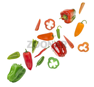 Assorted colorful varieties of hot and sweet peppers on white background