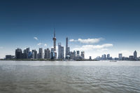 shanghai skyline and huangpu river
