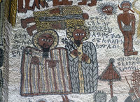 Fresco in the rock-hewn church Yohannes Maequddi, Gheralta, Tigray, Ethiopia