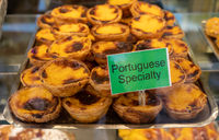 Portuguese speciality of Custard tarts in bakery in Porto