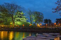 Cherry Blossom Festival in Takada Castle at night in Niigata, Japan