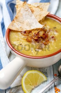 Traditional Lebanese lentil soup.