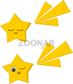 Two stars vector color illustration.