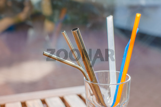 A Collection of Metal and Plastic Straw