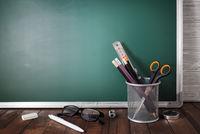 School stationery, chalkboard