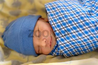 Eurasian newborn baby sleeping
