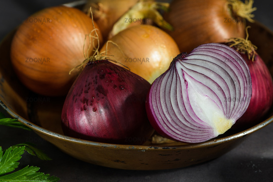 Fresh whole onions and parsley