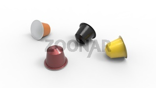 3d rendering of multiple colored coffee capsules different flavours