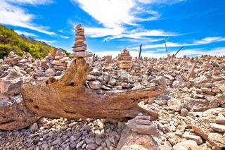 Telascica bay on Dugi Otok island stone desert amazing landscape view