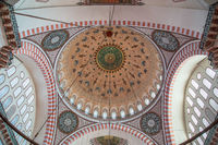 Istanbul, Turkey, 25 March 2019: Suleymaniye Mosque interior view in Istanbul, Turkey. Suleymaniye Mosque is a mosque built by Mimar Sinan in 1551-1557 on behalf of Suleiman the Magnificent