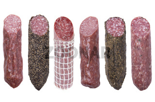 salami sausages isolated on white background