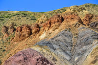Texture of unrealy beautiful colorful clay cliffs in  Altai mountains, Russia