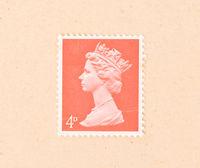 UNITED KINGDOM - CIRCA 1960: A stamp printed in the United Kingdom shows queen Elizabeth, circa 1960