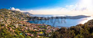 Villefranche sur Mer and Cap Ferrat on French riviera coastline panoramic view